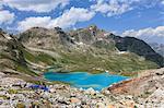 The colorful flowers on rocks frame the turquoise lake Joriseen Jörifless Pass canton of Graubünden Engadin Switzerland Europe
