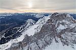 Aerial view of the snowy peaks of Croda Da Lago Dolomites Cortina D'ampezzo Province of Belluno Veneto Italy Europe