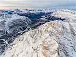 Aerial view of the snowy peaks of Monte Cristallo Cortina D'Ampezzo Dolomites Province of Belluno Veneto Italy Europe