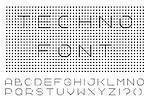 Digital english alphabet. Minimalistic dotted font. Gray design