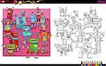Cartoon Illustration of Robots Fantasy Characters Group Coloring Book Activity