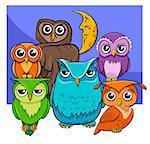 Cartoon Illustration of Owl Birds Animal Characters Group