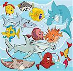 Cartoon Illustrations of Fish Sea Life Animal Characters Group