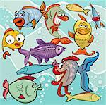 Cartoon Illustrations of Comic Fish Sea Life Animal Characters Group