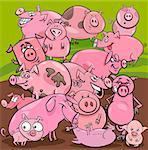 Cartoon Illustration of Pigs Farm Animal Characters Group