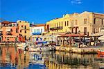 The Harbour at Rethymno, Rethymno, Crete, Greek Islands, Greece, Europe