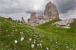 Cinque Torri, Ampezzo Dolomites, Cortina d'Ampezzo, Belluno, Veneto, Italy.