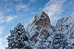 Sas de Putia covered in snow. Passo delle Erbe, Bolzano, Trentino Alto Adige - Sudtirol, Italy, Europe.