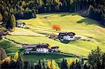 Autumnal scenery with mountain lodges and trees . Santa Maddalena, Funes, Bolzano, Trentino Alto Adige - Sudtirol, Italy, Europe.