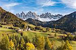 Autumnal landscape with Odle Dolomites peaks on the background. Santa Maddalena, Funes, Bolzano, Trentino Alto Adige - Sudtirol, Italy, Europe.