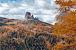 Europe, Italy, Veneto, Belluno. Autumn landscape of the Cinque Torri, Cortina d Ampezzo, Dolomites