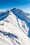 Aerial view of Monte Disgrazia in winter with the moraine created by the Predarossa glacier. Valmasino, Valtellina Lombardy, Italy Europe