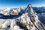Aerial view of Cresta del Leone towards the peak of Matterhorn Zermatt canton of Valais Switzerland Europe