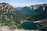 View of Hopkins Lake, near the Canadian border, Pasayten Wilderness, Washington.