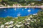 Lulworth Cove on a hot summer day, Jurassic Coast, UNESCO World Heritage Site, Dorset, England, United Kingdom, Europe