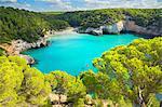 View of Cala Mitjana bay with blue sea, Menorca, Balearic Islands, Spain