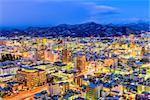 Yamagata, Japan city skyline at dusk.