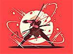 Japanese battle samurai with katana. National martial arts. Vector illustration