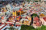 Overview of the city center of Guanajuato City with the University of Guanajuato, La Valenciana, Cathedral of Guanajuato and the Templo de San Diego de Alcala in the Guanajuato State, Mexico