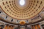 Pantheon interior concrete dome, Roman Temple, now church, Historic Centre, Rome, UNESCO World Heritage Site, Lazio, Italy, Europe