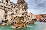 Fontana dei Quattro Fiumi (Four Rivers), Piazza Navona, Historic Centre, Rome, UNESCO World Heritage Site, Lazio, Italy, Europe