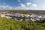 Green vegetation frames the medieval town and harbour, Bonifacio, Corsica, France, Mediterranean, Europe