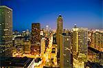 City skyline by night, Chicago, Illinois, United States of America, North America