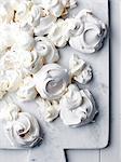 Freshly baked meringues, overhead view