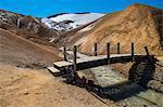 Bridge against landscape at geothermal active valley,  Kerlingafjoll, Iceland
