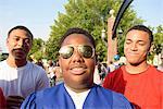 Teen boys at graduation ceremony