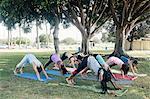 Schoolgirls practicing yoga downward facing dog pose on school sports field