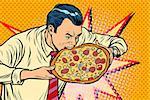 man bites pizza. Pop art retro vector illustration
