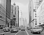 1960s 1963 CHICAGO IL USA MICHIGAN AVENUE TRAFFIC WRIGLEY BUILDING