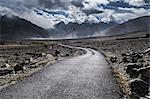 Road leading out of Kharsa village, Ladakh, India, Himalayas, Asia