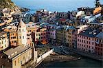 Vernazza in sunset light, Cinque Terre National Park, UNESCO World Heritage Site, Liguria, Italy, Mediterranean, Europe