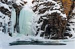 A frozen waterfall in Abisko National Park, Sweden, Scandinavia, Europe