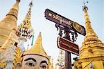 Planetary post at Shwedagon Pagoda, Yangon (Rangoon), Myanmar (Burma), Asia