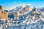 Croda da Lago massif and mount Pelmo in background framed by the trees, Dolomites, Cortina d Ampezzo, Belluno, Veneto, Italy