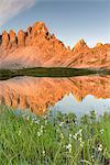 Sesto / Sexten, province of Bolzano, Dolomites, South Tyrol, Italy. Sunrise at the lake Piani ant the Mount Paterno