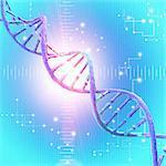 DNA (Deoxyribonucleic acid is acid) strand, illustration.