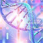 DNA (Deoxyribonucleic acid) strand with lens flare, illustration.