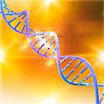 DNA (Deoxyribonucleic acid) strand against an orange background, illustration.