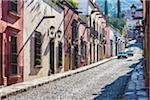 Traditional cobblestone street and buildings in San Miguel de Allende, Mexico
