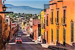 Brightly colored buildings on Zacateros Street in San Miguel de Allende, Mexico