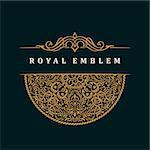 Vector calligraphic crest template. Luxury retro label. Vintage monogram. Round royal emblem ornament and decor