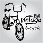 Vintage bicicle vector graphic design. Black line concept.