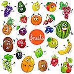 Cartoon Illustration of Fruits Comic Food Characters Big Set