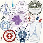 Travel stamps set - France and Paris journey symbols