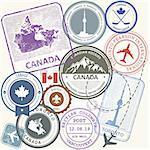 Canada travel stamps set -  journey symbols of Toronto, Canada and Quebec