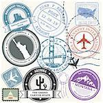 United states travel stamps set - USA journey landmarks